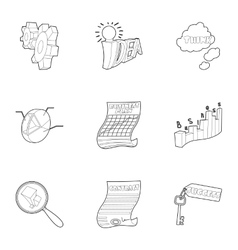 Project icons set outline style vector