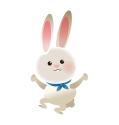rabbit with blue ribbon cartoon icon vector image