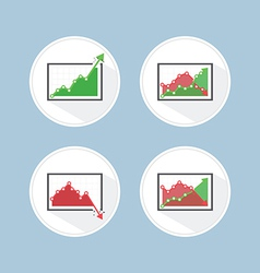 Rise and fall business graph vector
