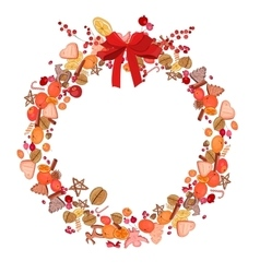 Round festive wreath on white vector image