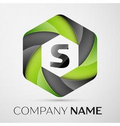 S Letter colorful logo in the hexagonal on grey vector