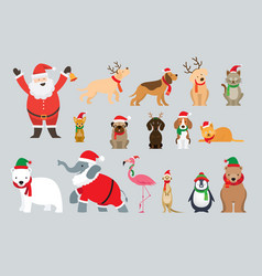Santa claus and animals wearing christmas costume vector