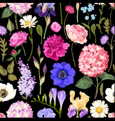 Seamless garden flowers vector