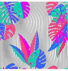seamless pattern of tropical leaves and wave vector image