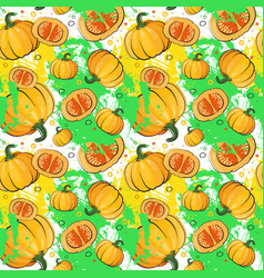 Seamless pattern pumpkin vegetables ornament vector
