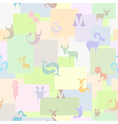 Seamless pattern with zodiac signs on colored vector