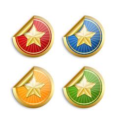 set golden star stickers for custom design vector image