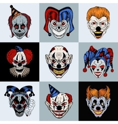 Set nine images with painted fantastic scary vector