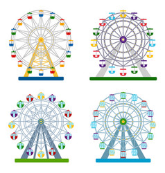 set of colorful ferris wheels on white background vector image