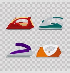 set of colorful irons on transparent background vector image