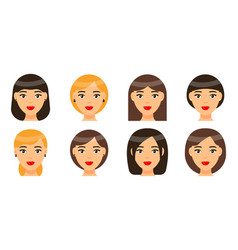 set women with different types haircuts or vector image