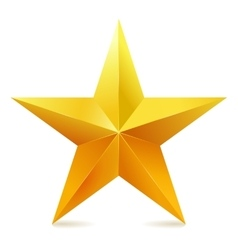 Single golden star shine on white background vector image