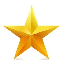 Single golden star shine on white background vector