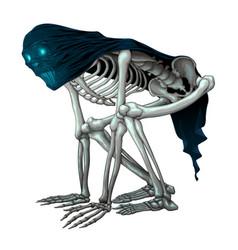 Skeleton monster with veil on skull vector