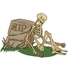 Skeleton sitting beside old gravestone vector