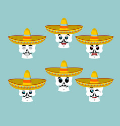 Skeletons and sombrero set for day of the dead vector