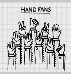 sketch fans hands up vector image