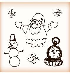 Snowman and Santa retro sketch doodles vector image