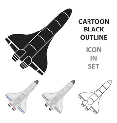 space shuttle icon in cartoon style isolated on vector image
