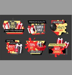 Special promotion on exclusive products sellout vector
