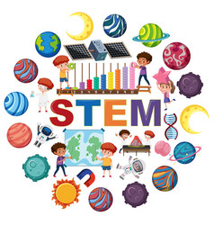 stem logo with kids and education objects vector image