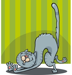 Stretching cat cartoon vector