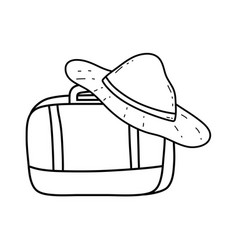 suitcase travel with tourist hat vector image