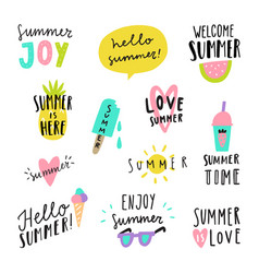 Summer lettering stickers vector