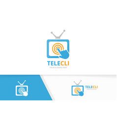 Tv and click logo combination television vector
