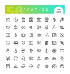 Vacation Line Icons Set vector