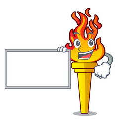 with board torch character cartoon style vector image