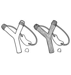 wooden slingshot vector image