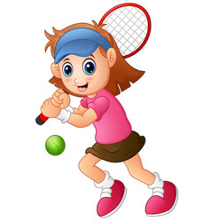 Young girl playing tennis on a white background vector