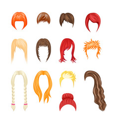 cartoon hairstyles woman set vector image vector image