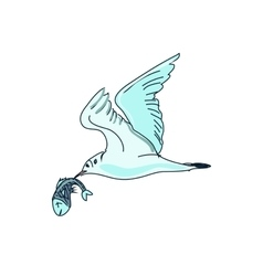 doodle seagull with fish vector image