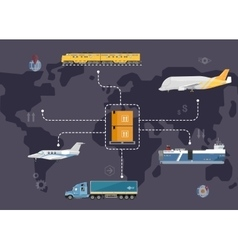 Global logistics network concept in flat design vector image
