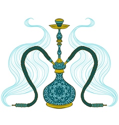 hookah with arabic pattern and smoke vector image vector image