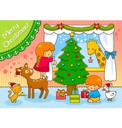 kids and animals on Christmas vector image vector image