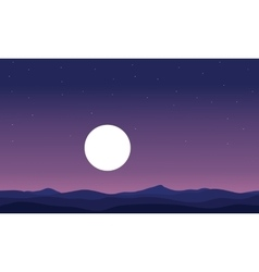 Landscape hill and full moon silhouette vector image vector image