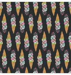 Seamless pattern with cute doodle cat ice cream vector image