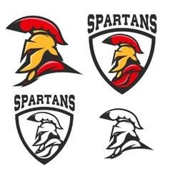 Set of emblems with Spartan helmet Design vector image