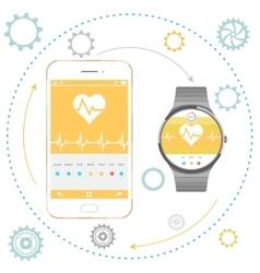 Smartphone and Smart Watch vector image vector image