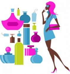 urban shopping girl cosmetics vector image vector image
