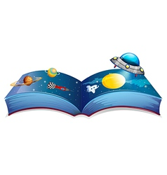 A book with an image of a spaceship and planets vector image vector image