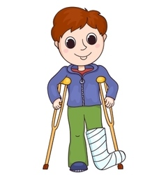 Cute boy with the broken leg vector image vector image