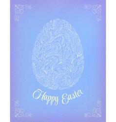 Happy Easter Card Doodle ornate white floral egg vector image