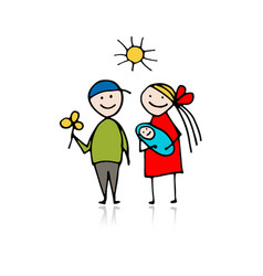 happy parents with newborn sketch for your design vector image