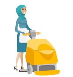 muslim worker cleaning store floor with machine vector image vector image