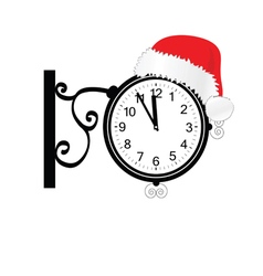 old clock with happy new year hat vector image