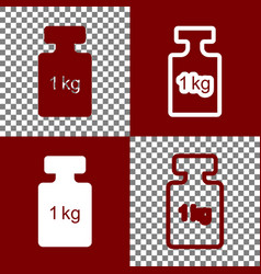 weight simple sign bordo and white icons vector image vector image
